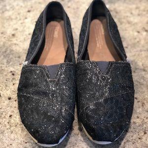 Black sparkly Toms size 11